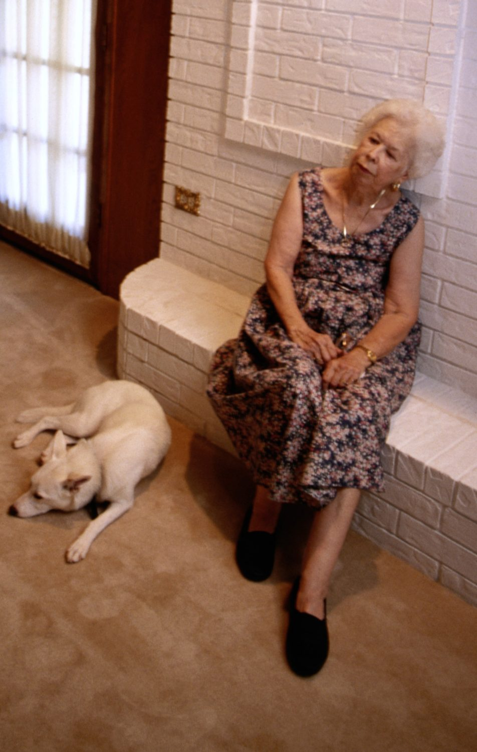 Lonely elderly woman with dog, older adults