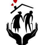 silhouette of two hands holding an elderly woman and man under a roof with hearts coming out of chimney